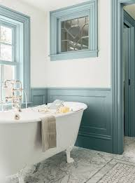 bathroom ideas with clawfoot tub bathroom ideas with chalk painted blue accent color