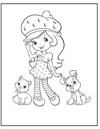strawberry shortcake with cat and dog coloring pages for kids g31
