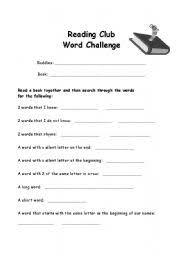 english worksheets reading buddy challenge