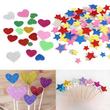 30pcs assorted glitter shapes hearts stars round flowers foam