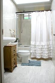 Gray Paisley Shower Curtain by Ruffle Shower Curtain With Brown Ceramic Floor For Modern Bathroom