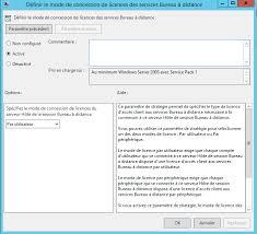 acces bureau a distance 2012 r2 spécifier le serveur de licences rds tse à utiliser