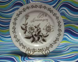 anniversary plates 50th anniversary vintage 50th wedding anniversary etsy