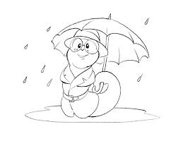 rain umbrella coloring pages kids