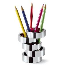 accessoire de bureau design porte stylos design rotondo en nickel poli accessoires bureau design