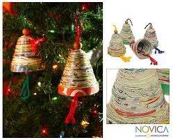 recycled paper ornaments bells of set of 4 the