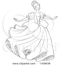 clipart black white lineart young lady cinderella