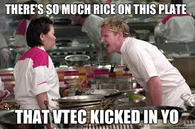 Vtec Meme - that vtec kicked in yo there s so much rice on this plate misc