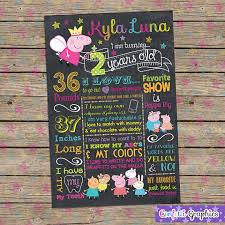 birthday signing board peppa pig chalkboard birthday sign board 1st birthday