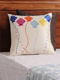 Sofa Cover Online Buy Buy Cream Multi Color Kite Phulkari Embroidered Silk Cushion