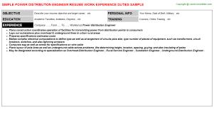 Field Service Engineer Resume Sample by Power Distribution Engineer Resumes Samples