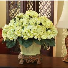 Hydrangea Centerpiece Green Hydrangea Silk Floral Arrangement Centerpiece Ar257 Green