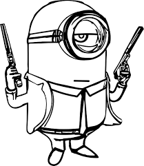 minion gun coloring wecoloringpage