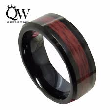 wood inlay wedding band aliexpress buy queenwish infinity black tungsten carbide