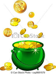 vector st patrick s day green pot with gold coins vector eps