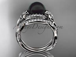 pearl and diamond engagement rings black pearl and diamond platinum ring sets abp326s