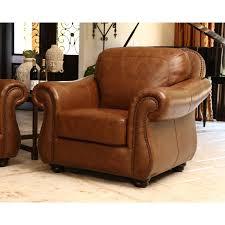 abbyson erickson grain leather arm chair camel brown hayneedle
