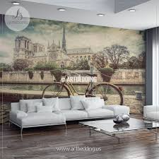 wall murals peel and stick self adhesive vinyl hd print page 7 retro bike next to notre dame cathedral in paris wall mural photo mural wall