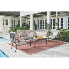 home decorators collection outdoors the home depot dunham manor 4 piece all weathered metal deep seating set with sand dune cushions