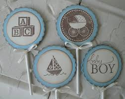 set of 12 baby boy blue cupcake toppers cupcake picks baby