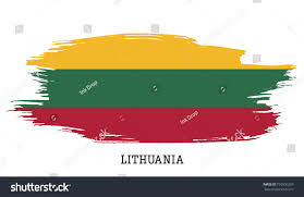 Flag Of Lithuania Picture Lithuania Flag Vector Grunge Paint Stroke Stock Vector 726950269