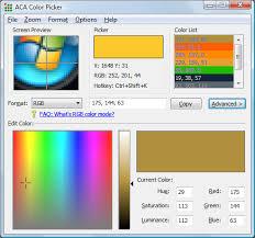 Color Picker Software Aca Color Picker Free Download Acasystems Web Page Color Picker