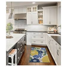 floral blue accent kitchen rug 20 x 45 threshold target