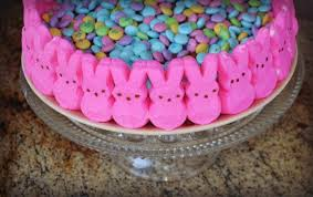 easter candy cake with peeps u2013 mrs happy homemaker