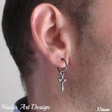 black hoop earrings single black hoop earring with cross for men sterling silver