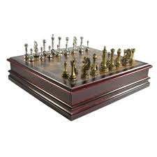 Wooden Chess Set by Antique Pewter Finish Staunton Chess Set In Cherry Finish Storage Box