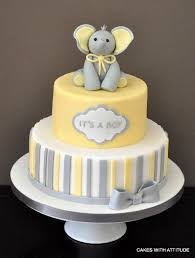 cakes for baby showers yellow and grey baby shower cake 2556