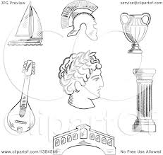 clipart of a black and white sketched italian caesar roman helmet