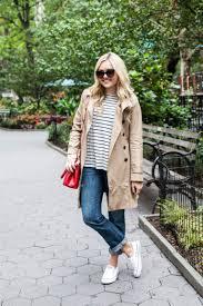 stripe sweater trench coat boyfriend jeans sneakers bows