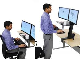 using a sit stand desk sit stand workstation ergotron workfit s dual monitor with