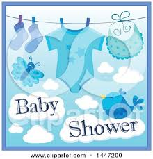baby shower poster blue boy baby shower design with a onesie socks and bib on a