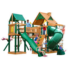 gorilla playsets catalina wooden swing set with timber shield