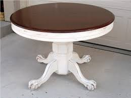 White Distressed Coffee Table Painted Legs And Varnished Wood Top Classic White Distressed