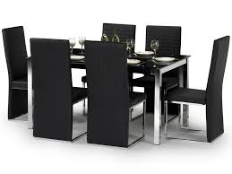table and 6 chair set bowen tempo 150cm black glass dining table and 6 black faux leather