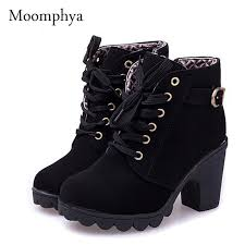 motorcycle boots and shoes moomphya women pumps european pu leather boots ladies high heel
