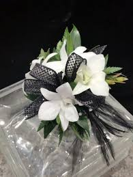 black and white corsage dottie black and white wrist corsage in newton ma the crimson