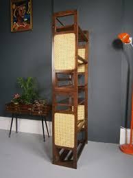 vintage retro mid century bookshelves stacking bookcases tiki cane