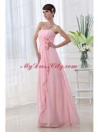 a line strapless hand made flowers chiffon baby pink prom dress