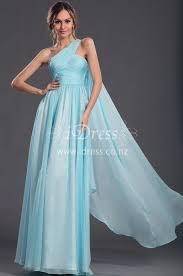 one shoulder sky blue chiffon long bridesmaid dress idress