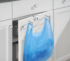 laundry gadgets mdesign over the cabinet plastic bag holder for kitchen chrome