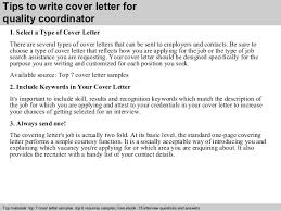 writing cover letters exles quality coordinator cover letter