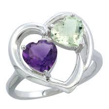 large amethyst diamond white gold 14k white gold diamond jewelry 2 stone rings