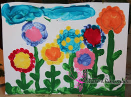 finger paint flower garden template