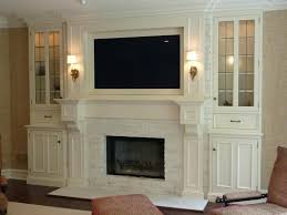 tv fireplace mounting ideas over built ins lift cabinets