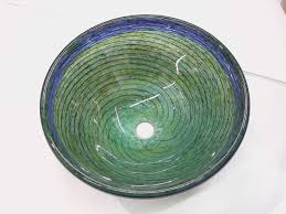 blue green optic twist blown glass bath sink artisan crafted home