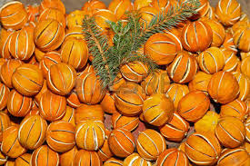 wall christmas decoration made of dried oranges stock photo